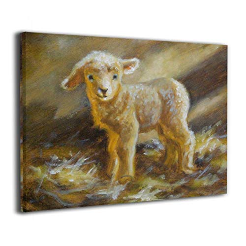 Framed Wall Art Oil Painting Sheep Print, Canvas Modern Pictures Decor Ready to Hang for Home Kitchen Bathroom Office - 16 X 20inch