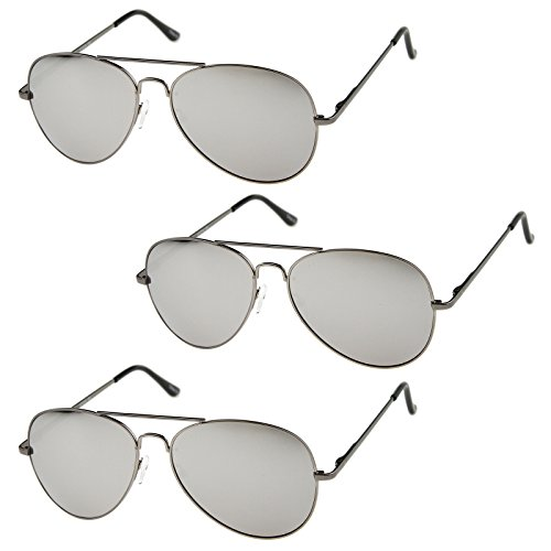 Classic Metal Frame Spring Hinges Color Mirror Lens Aviator Sunglasses 56mm (3-Pack | ()