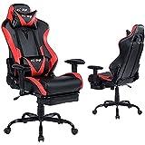 KCREAM Gaming Chair,Ergonomic Racing Office Computer Chair Adjustable Headrest and Massage Lumbar Pillows PVC Leather High-Ba