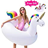 "GABOSS Inflatable Unicorn Pool Floats Party Tube Swimming Ring Pool Toys for Adults & Kids, 55"" X 45"" - Free Unicorn Drink Holder"
