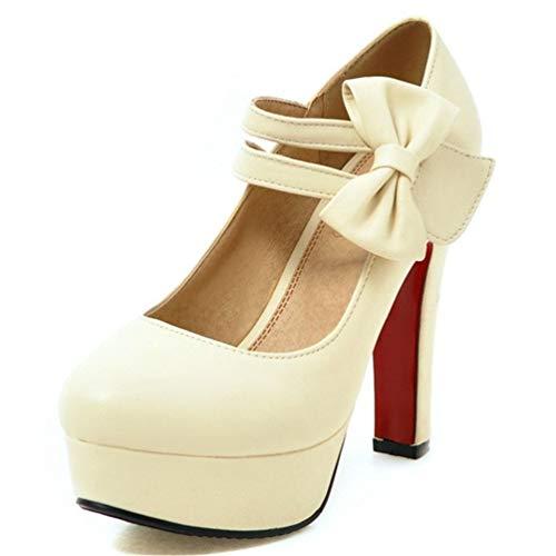 Bowtie Mode Talons avec la Talons Mariage Douce Talons Forme Chaussures de Hauts 12cm Peu Hauteur Femmes de Pompes Profondes Plate Beige w0qTX
