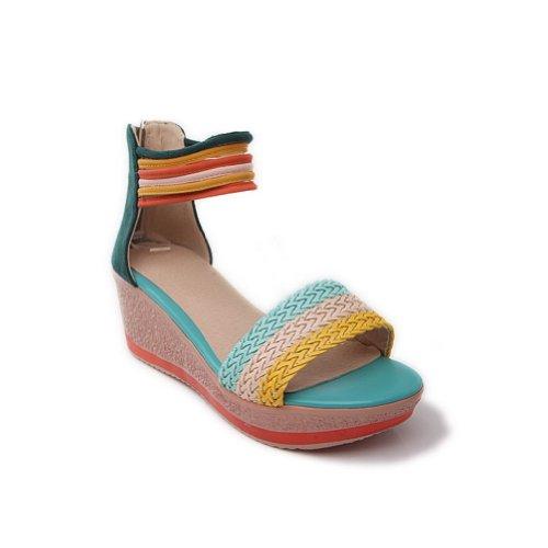 BalaMasa Womens Zipper Assorted Colors Kitten Heels Sandal Shoes Green