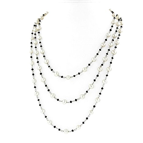 Bronze Potato Pearls - Sterling Silver 6.5-7MM Potato White Freshwater Cultured Pearl and Onyx 60'' Necklace