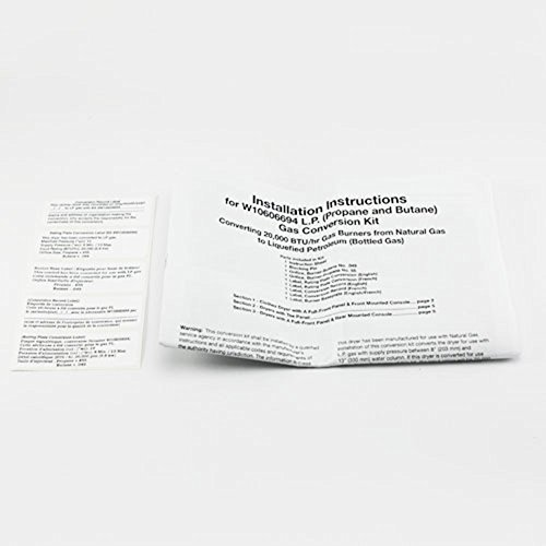 Whirlpool W10606694A Dryer LP Conversion Kit Genuine Original Equipment  Manufacturer (OEM) part for Whirlpool, Maytag, Kenmore Elite, Kenmore,