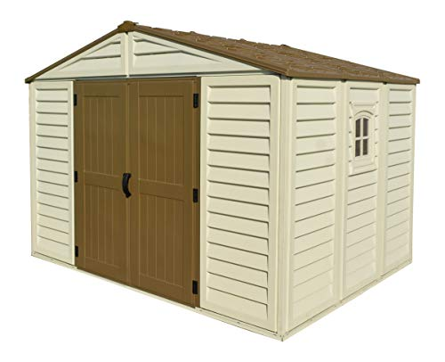 Woodbridge Plus 10.5 Ft. x 8 Ft. Vinyl Garden Storage Shed | Made of Fire Retardant PVC Resin, All-Weather, Waterproof Outdoor Solution, Store Bikes, Tools, BBQ, | Strong Structure, Maintenance Free Duramax Vinyl Outdoor Shed
