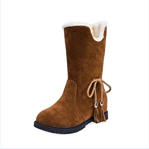 Stiefel damen Kolylong® Frauen Elegant Plüsch Troddel Stiefel Herbst Winter Warme Stiefel Stiefeletten Stiefel Blockabsatz Schnee Stiefel Freizeit Schuhe Gelb