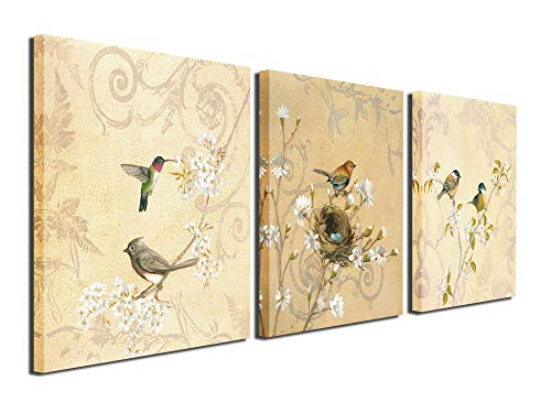 Birds Canvas Prints Wall Art Pictures Abstract Flowers Paintings Artworks for Living Room Bedroom Office Decoration, 12x12 inch, ()
