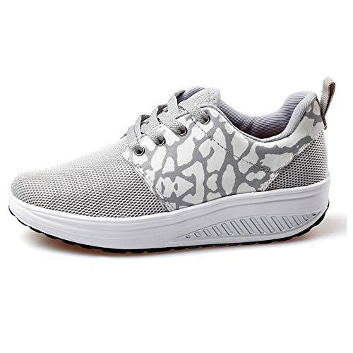 FangYOU1314 Zapatos de Malla de Boca Baja Shake Zapatos de Pendiente de Mujer con Zapatos Deportivos Muffins (Color : Gris, tamaño : 37 1/3 EU) Gris