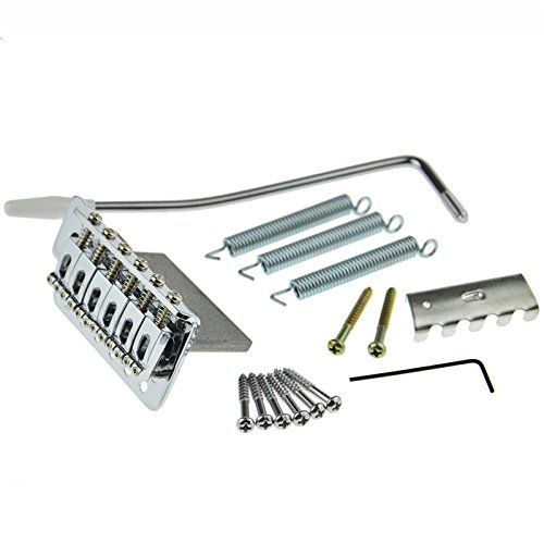 Set Of Chrome 6 Strings Guitar Tremolo Bridge With Bar For Fender Strat