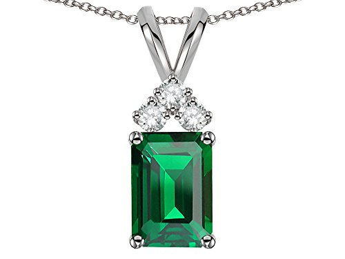 - Star K Classic Emerald Octagon Cut 8x6mm Simulated Emerald Rabbit Ear Pendant Necklace 10 kt White Gold