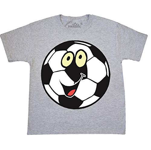inktastic - Smiling Soccer Youth T-Shirt Youth X-Large (18-20) Ash Grey a14