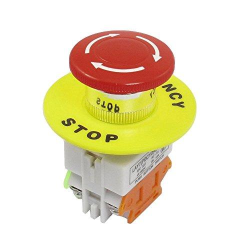 JMAF 1 Pcs Red Mushroom Cap 1NO 1NC DPST Emergency Stop Push Button Switch AC 660V 10A