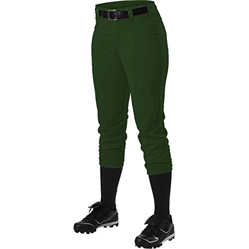 Alleson Athletic Women 's Softball Pants withベルトループ B014GA9QAE Small|ダークグリーン ダークグリーン Small