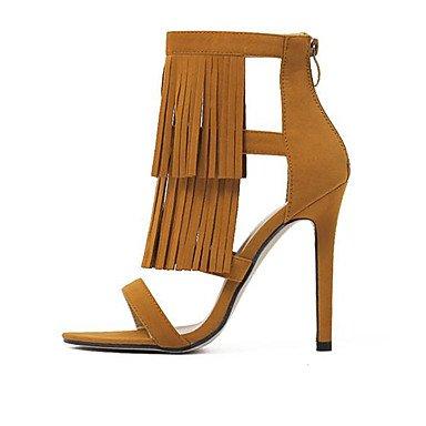 LvYuan Tacón Stiletto-Gladiador-Sandalias-Vestido-Vellón-Negro Marrón Brown