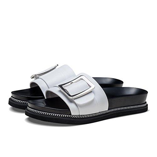 Zapatillas de cuero hebilla lateral/Zapatillas de verano de moda A