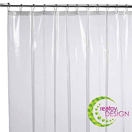 CREATOV DESIGN Shower Curtain Liner - 72x72 Clear Peva Curtain for Bathroom - Waterproof Odorless Eco Friendly - Heavy Duty Metal Grommets