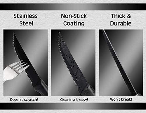 Steak Knives Set of 8 – Black – Stainless Steel, Ultra-Sharp, Scratch Resistant & Rust Proof – Non Stick and Dishwasher Safe – Serrated Steak Knife Set & Dinner Knife Set