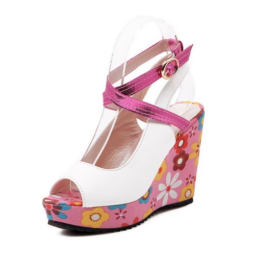 VogueZone009 Womens Open Peep Toe High Heel Platform Wedges PU Assorted Colors Sandals with Buckle Pink BHDr5j