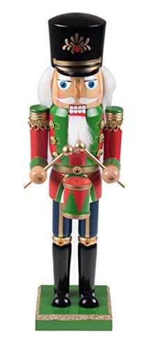[Wooden Soldier Drummer Nutcracker Decoration Figure with Hat and Drum - 14