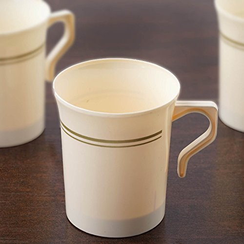 Efavormart 40 Pcs - Ivory with Matte Gold 8oz Disposable Plastic Coffee Cups for Wedding Birthday Party Events - Antique -