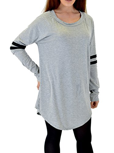 Womens Oversized Curved Hem Loose fit Varsity Football Jersey Plain Long Sleeve T shirt Dress Football Oversized T-shirt