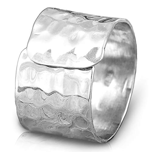 Boho-Magic 925 Sterling Silver Band Ring for Women | Cool Plain Simple Cuff Ring | Hammered Wide Statement Jewelry | Adjustable Size 6-9 | Gift Box Bonus (9) ()