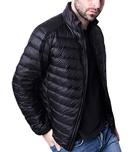 Lightweight Warm Zip Jacket Mens Full Winter GladiolusA Black Coat qSwp5CAx