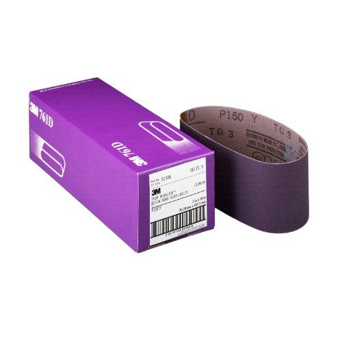 3M 81404 3-Inch by 21-Inch Purple Regalite Resin Bond 150 Grit Cloth Sanding Belt Pack of 5