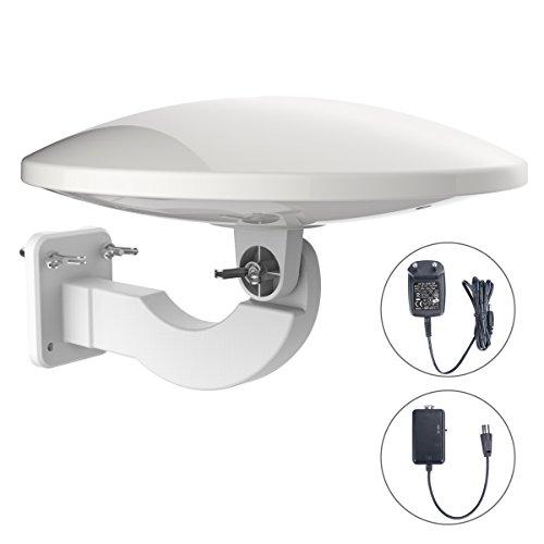 1byone 360° Aktive Außenantenne mit Verstärker, Dachantenne Empfang von HDTV, DVB-T/DVB-T2 und Analogen Signalen, Mit Eingebautem 4G LTE Filter und Anti-UV Beschichtung, Wetterfest und Platzsparend-Weiß