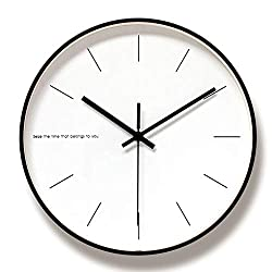 WOFEIYL 12-Inch Modern Quartz Metal Wall Clock, Simple and Stylish Decorative Wall Clock, Silent Non-Ticking, Suitable for Living Room/Bedroom/Dining Room, Black