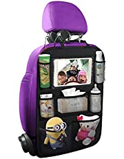 """Sukuos Car Backseat Organizer with 10"""" Table Holder + 7 Storage Pockets Seat Back Protectors Kick Mats for Kids Toddlers, Travel Accessories (1Pack)"""