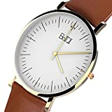 Watches for Men Women, BaIDI Quartz Wrist Watches Daily Life Waterproof Wristwatch with Leather Wristband