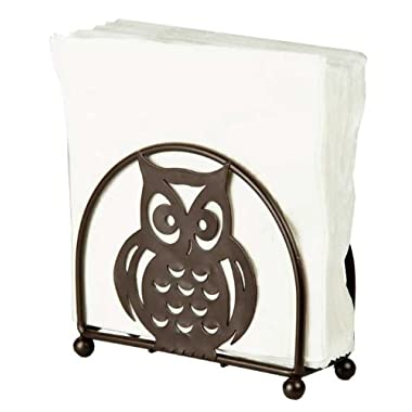 Home Basics Napkin Holder, Bronze with Owl Design