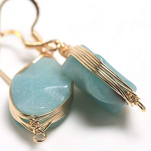 Dangling Tourmaline Earrings - Natural Stone Wire Wrap Dangle Drop Earrings Gold Plated 925 Sterling Silver Hook/Amazonite