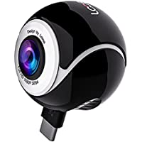 360 Camera for Android Smartphones FUSHITON Dual Lens Panoramic HD Cameras with USB and Type-C Connector (White/Black-Round)