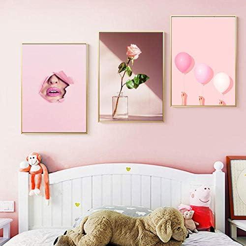 ピンクバルーン唇壁アートフェミニストキャンバス絵画ポスタープリントフラワーウォール写真女の子リビングルームの装飾-50×70セン
