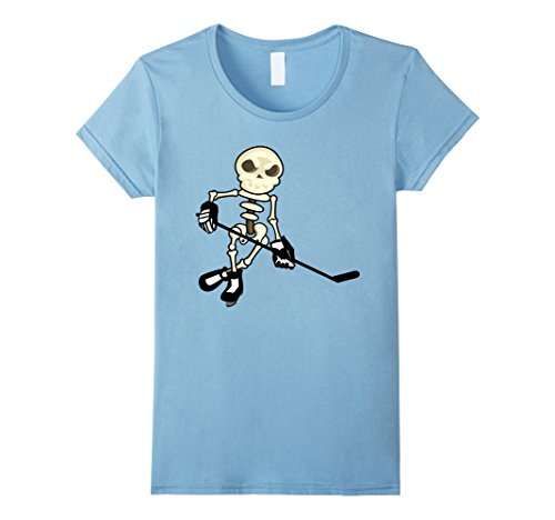Womens Ice Hockey Skeleton Shirt | Funny Halloween Sports T-Shirt Large Baby (Ice Hockey Player Costumes)