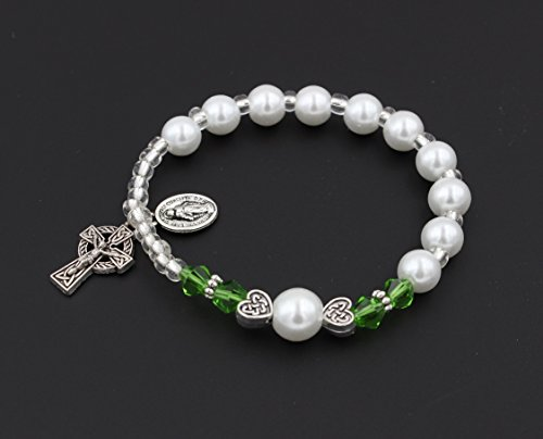 Christian Living Girls Irish Celtic Stretch Rosary Bracelet with Celtic Crucifix by Christian Living (Image #2)