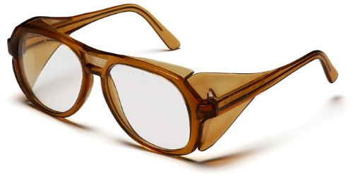 Pyramex Monitor Safety Glasses, Caramel Frame with Clear ()