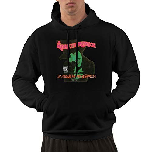AlbertV Mens Marilyn Manson Smells Like Children Hoodies Hooded Sweatshirt with Pocket L Black