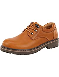 Men's Cashion Round Toe Lace-up Leather Ankle Boots Oxfords Outdoor Shoes (9.5 B(M)US golden-2)