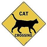 """Cat Silhouette Crossing 12"""" X 12"""" Aluminum Sign"""