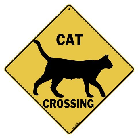 Crossing Sign Aluminum (Cat Silhouette Crossing 12