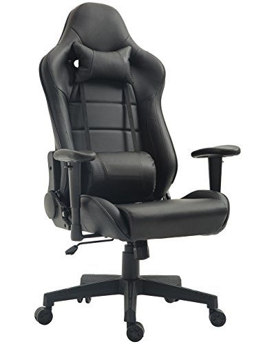 Gaming Chair Ergonomic Racing Chair PU Leather High-Back PC Computer Chair Adjustable Height Professional E-Sports Chair with Headrest and Lumbar Pillows (Black)