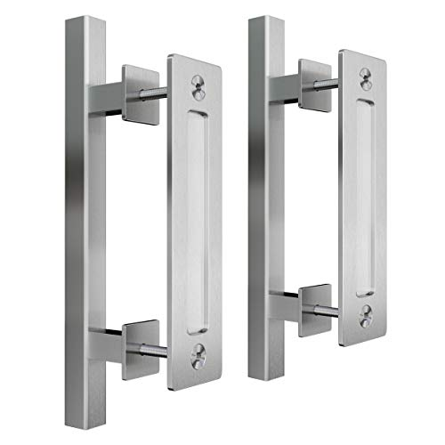 SMARTSTANDARD 12 Pull and Flush Square Door Handle Set Stainless Steel Door Pull Handle Sliding Barn Door Hardware Handle 2PCS