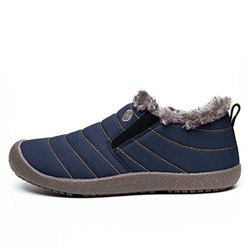 Go Tour Slip On Snow Boots Per Uomo Donna, Stivaletto Antiscivolo Leggero Alla Caviglia Con Completamente In Pelliccia Blu Navy / Basso
