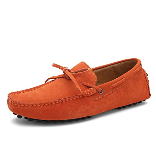 SUNROLAN ylw-2081-Orange-40 Darnell Men's Suede Leather Bow Accent Moccasins Western Penny Loafers US 7.5 (Sunrolan Moccasins For Men)
