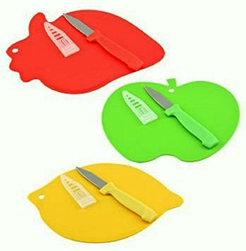 Fruit-shaped Mini Cutting Boards with Paring Knives, 3-set (Fruit Cutting Board)
