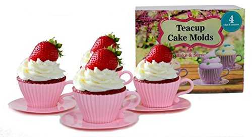 Saucers Safe Cups Oven (handy helpers Bulk Buys Teacup Cake Molds, 4-Pack)