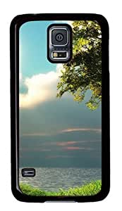 Rugged Samsung Galaxy S5 Case and Cover - Cloudy Skies Custom Design PC Case Cover for Samsung Galaxy S5 - Black
